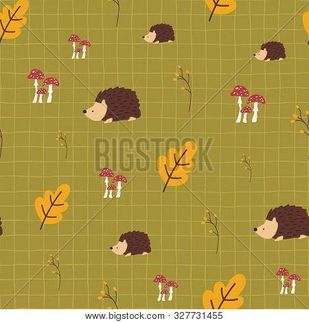 Autumn Kids Vector Background. Hedgehog Toadstool Mushrooms Acorn Leaf Seamless Vector Pattern. Scan