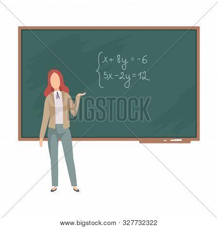Woman Teaches Algebra On The Blackboard Vector Illustration