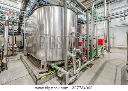 Small Chemical Plant. Production Of Chemical Emulsions For Mining. A Lot Of Clean And Shiny Pipeline