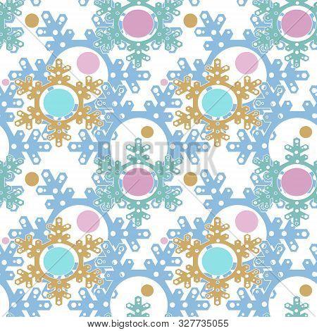 Seamless Bright Merry Christmas Snowflakes Pattern White Background