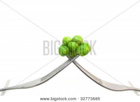 Peas Balanced on Forks