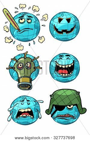Character Planet Earth. Set A Collection Of Emotions Emoji. Themes Of Ecology And Global Warming, Wa