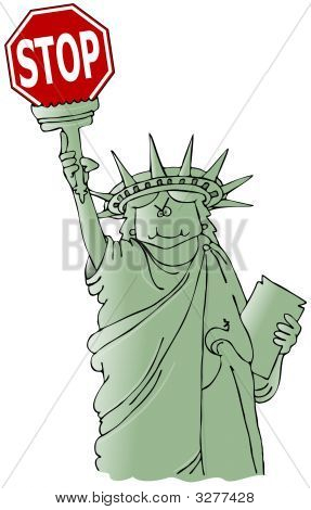 Statue Of Liberty Holding A Stop Sign