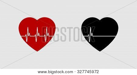 Heartbeat Life Or Dead. Red And Black Heart With Palpitation. Red Heartbeat, Line Of Life And Black