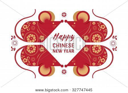 Happy Chinese New Year Design. 2020 Rat Zodiac. Cute Mouse Cartoon. Vector Illustration And Banner C