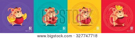 Happy Chinese New Year 2020. Cartoon Cute Mouse Set With Colourful Traditional Chinese Pattern Backg