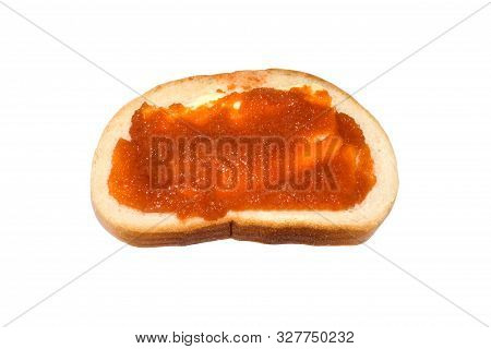 Sandwich With Butter And Caviar On A White Background.whitefish Caviar.