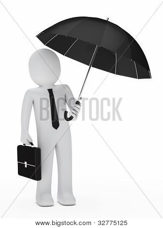 Businessman Black Umbrella
