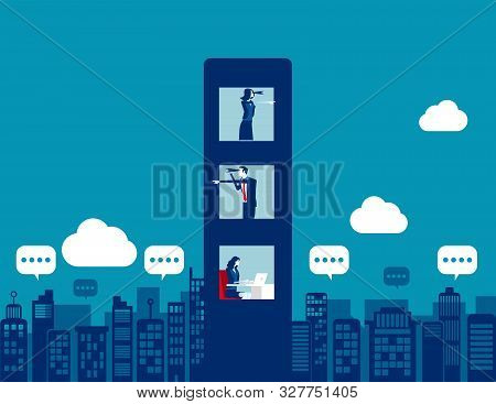 Business Team With Spying And Analysis Competitors. Concept Business Vector Illustration, Binoculars