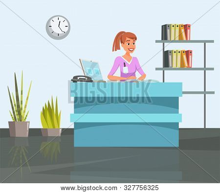 Woman At Reception Desk Flat Vector Illustration. Young Girl Behind Registration Table Cartoon Chara