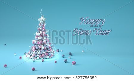 3d Render Of A Christmas Tree Made Of Balls Of Pink, Grey And Silver Colors On Blue Background. Gree