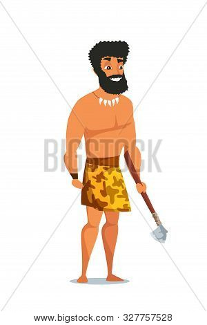 Stone Age Man With Axe Flat Vector Illustration. Primitive Ancient Male Cartoon Character. Caveman W