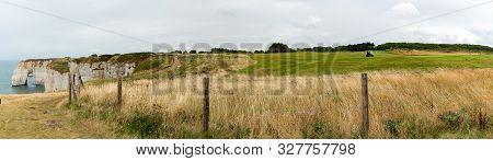 Etretat, Seine-maritime / France - 14 August 2019:  People Enjoy Playing The Etretat Golf Course On