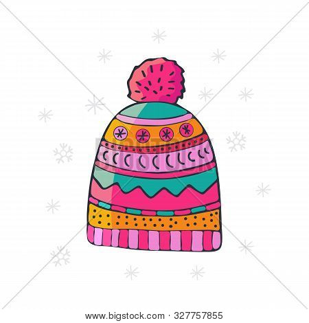 Bright Winter Knitted Hat With Pompon, Sketch Style Vector Illustrations Isolated On White Backgroun