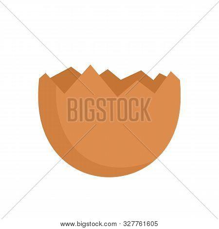 Half Cracked Eggshell Icon. Flat Illustration Of Half Cracked Eggshell Vector Icon For Web Design