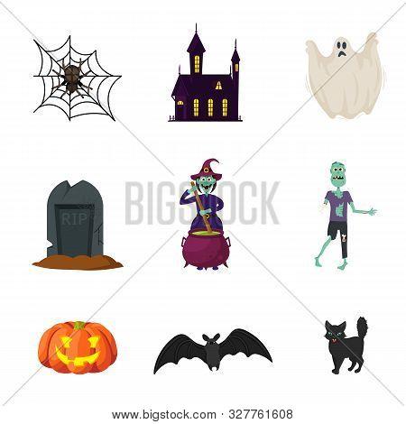 Halloween Spooky Flat Illustrations Set. Creepy Witch, Grinning Pumpkin, Black Cat Vector Stickers P