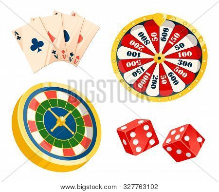 Game For Making Or Losing Money Vector, Isolated Set Of Playing Cards. Dice And Roulette Of Differen
