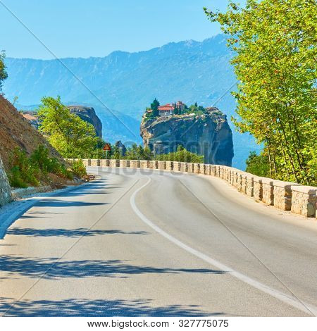 Road to The Monastery of the Holy Trinity in Meteora, Greece  - Greek landscape