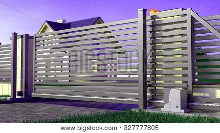 Automatic Sliding Gate For The House, 3d Illustration