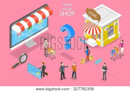 Isometric Flat Vector Concept Of Comparison Of Online And Offline Businesses.