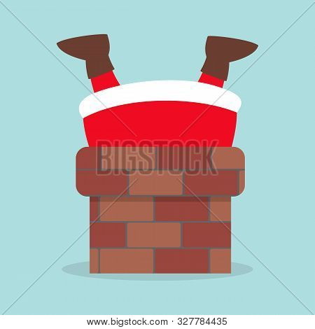 Cute Santa Claus In Red Clothes Stuck In Chimney.