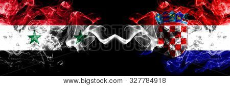 Syria Vs Croatia, Croatian Smoke Flags Placed Side By Side. Thick Colored Silky Smoke Flags Of Syria