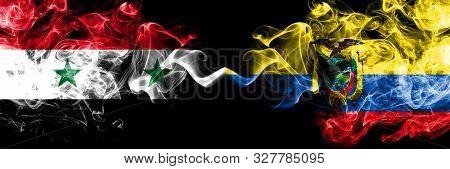 Syria Vs Ecuador, Ecuadorian Smoke Flags Placed Side By Side. Thick Colored Silky Smoke Flags Of Syr
