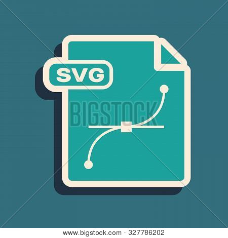 Green Svg File Document. Download Svg Button Icon Isolated On Blue Background. Svg File Symbol. Long