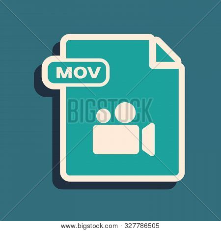 Green Mov File Document. Download Mov Button Icon Isolated On Blue Background. Mov File Symbol. Audi
