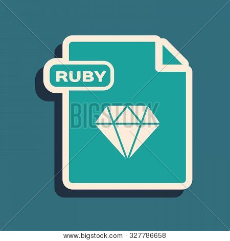 Green Ruby File Document. Download Ruby Button Icon Isolated On Blue Background. Ruby File Symbol. L