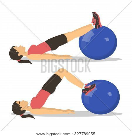 Exercise Ball Workout . Idea Of Body Health And Training
