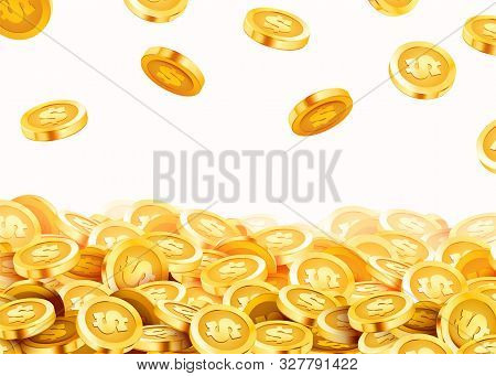Falling Coins, Falling Money, Flying Gold Coins, Golden Rain. Jackpot Or Success Concept. Modern Bac