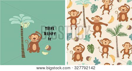 Set Of Monkey Print And Seamless Pattern With Monkeys.vector
