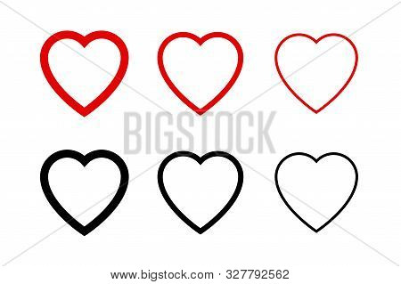 Hearts Collection Icons. Heart And Like Icons. Concept Of Love. Love Symbols. Set Of Hearts In Trend