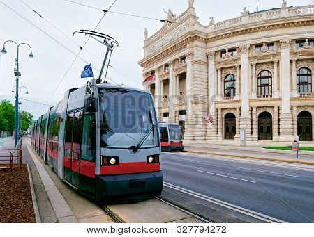 Street View With Public Tram At Burgtheater In Hofburg Vienna
