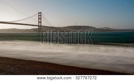 Golden Gate Bridge From Kirby Cove Beach In The Morning, San Francisco, California, Usa