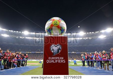 Kyiv, Ukraine - October 14, 2019: Official Uefa Euro 2020 Qualifiers Matchball Adidas Conext19 On Th