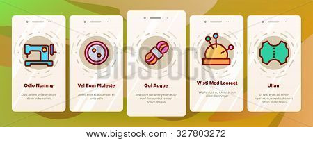 Needlework Onboarding Mobile App Page Screen Vector Thin Line. Pin And Button, Needle And Spool, Met