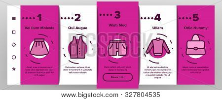 Fashion And Clothes Onboarding Mobile App Page Screen Vector Thin Line. Shoes, Hat, Clothing Varieti