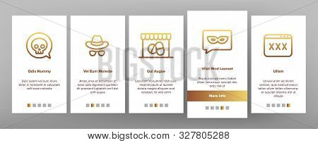 Darknet Onboarding Mobile App Page Screen Vector Thin Line. Password And Key Protection Dark Deep In