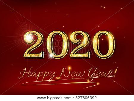 Happy New Year 2020! Greeting Card For Print, With Elegant Classic Design - Shiny Text On A Red Back