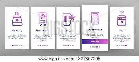 Air Purifier Devices Onboarding Mobile App Page Screen Vector Thin Line. Electronic Appliance Air Pu