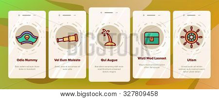 Pirate Things Onboarding Mobile App Page Screen Vector Thin Line. Pirate Triangle Hat And Sabre, Sku