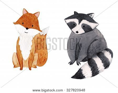 Cute Watercolor Hand Drawn Raccoon And Fox Illustration For Children Print