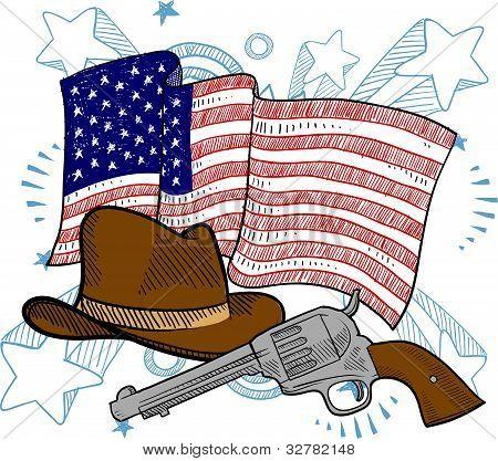 American wild west illustration