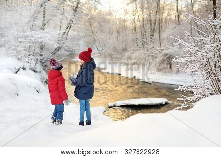 Two Adorable Young Girls Having Fun Together In Beautiful Winter Park By A River. Cute Sisters Playi