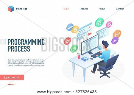 Programming Process Landing Page Vector Template. Software Engineering Website Homepage Interface La