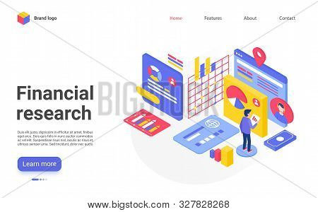 Financial Research Landing Page Vector Template. Stock Market Analysis Website Homepage Interface La