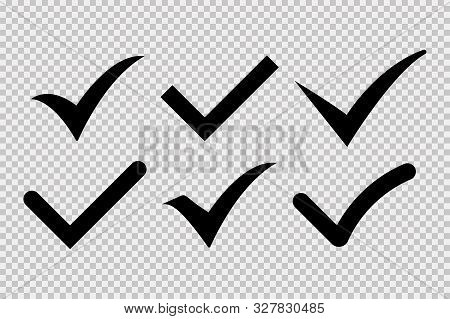 Check Mark Icon Isolated Vector Elements On Transparent Background. Black Check Mark Icon. Sign Symb