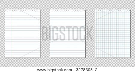 Paper Notebook. Realistic Template With Paper Notebook On Transparent Background. Blank Clear Paper